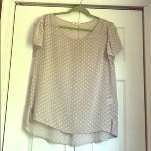 Gray and white sheer blouse